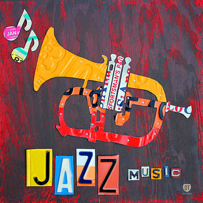 Music Mixed Media - License Plate Art Jazz Series Number One Trumpet by Design Turnpike