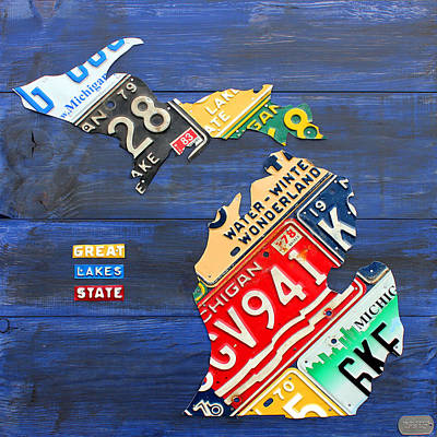 License Plate Map Of Michigan On Blue Barn Wood Original by License Plate Art and Maps