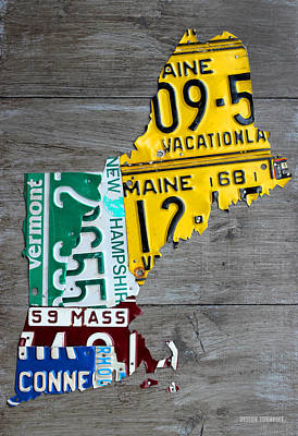 License Plate Map Of New England States Art Print