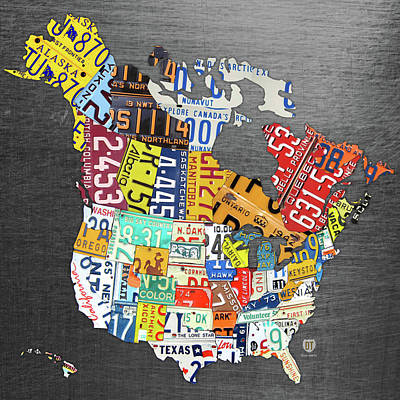 Travel Mixed Media - License Plate Map Of North America Canada And The United States On Gray Metal by Design Turnpike