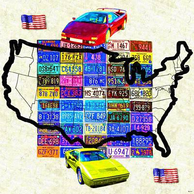 Us Flag Mixed Media - License Plate Map Of The United States by Daniel Janda