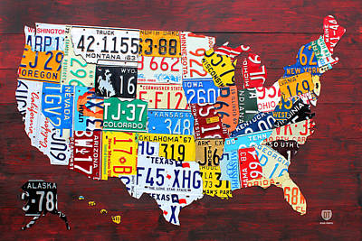 License Plate Map Of The United States Edition 14 Original by License Plate Art and Maps