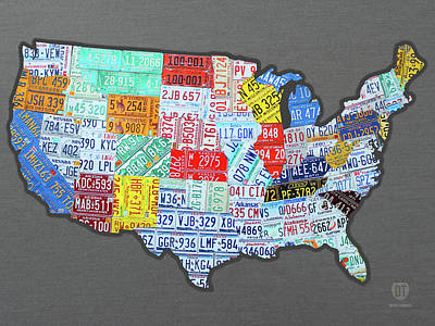 Metallic Mixed Media - License Plate Map Of The United States Edition 2016 On Steel Background by Design Turnpike