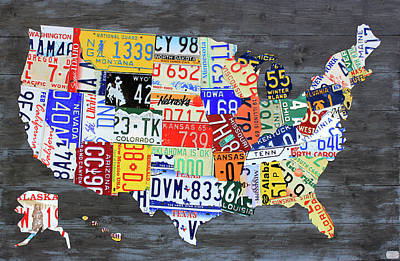 License Plate Map Of The United States Gray Edition 16 With Special Kodiak Bear Alaska Plate Art Print