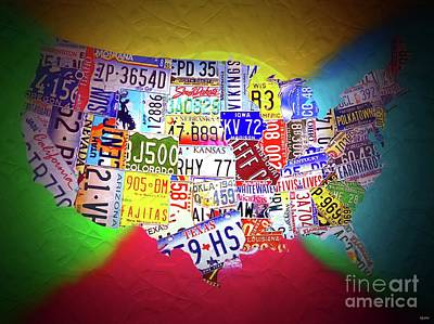 America The Continent Mixed Media - License Plate Map Of The United States Neon by Daniel Janda