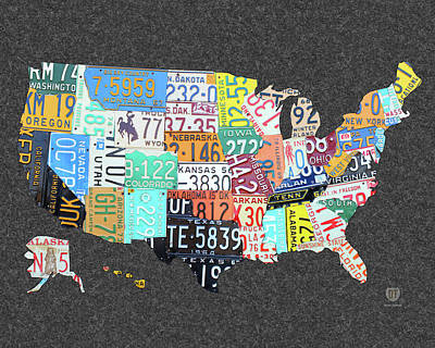 Travel Mixed Media - License Plate Map Of The United States On Gray Felt Large Format Sizing by Design Turnpike