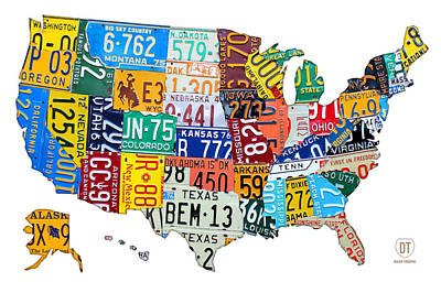 Road Trip Mixed Media - License Plate Map Of The United States Outlined by Design Turnpike