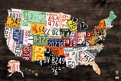 Recycle Mixed Media - License Plate Map Of The United States - Warm Colors / Black Edition by Design Turnpike