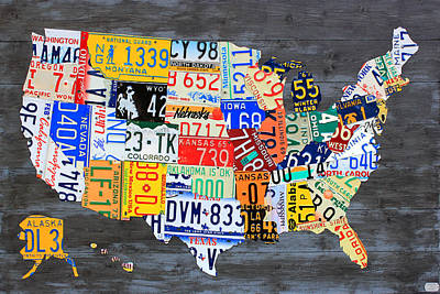 License Plate Map Of The Usa On Gray Distressed Wood Boards Print by Design Turnpike