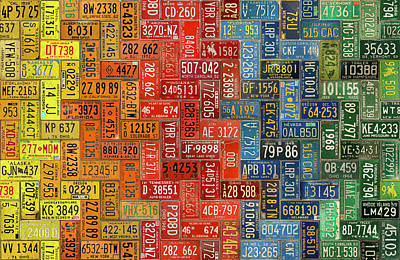 United States Mixed Media - License Plates Of The United States Colorful Tile Pattern Art by Design Turnpike