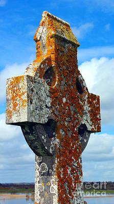 Wall Art - Photograph - Lichen Celtic Cross by Elaine J Hoffman