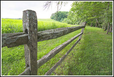Photograph - Lichen Covered Slab Fence By A Meadow by A Gurmankin