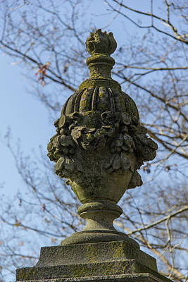 Lichen Covered Urn Print by Teresa Mucha