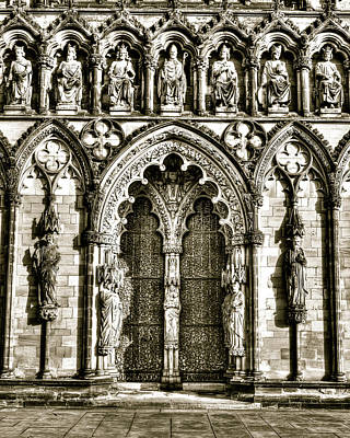 Landmark Photograph - Lichfield Cathedral West Front Main Entrance by Jacek Wojnarowski