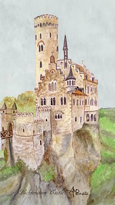 Knights Castle Painting - Lichtenstein Castle by Angeles M Pomata