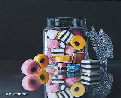 Licorice Painting - Licorice Allsorts By K Henderson by K Henderson