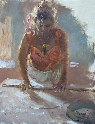 Making Painting - Lida Making Pie by Ylli Haruni