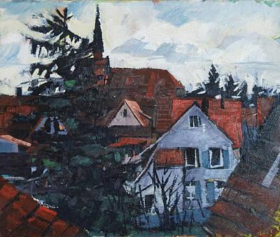 Painting - Lienzingen Ortsansicht Frauenkirche by Martin Stankewitz