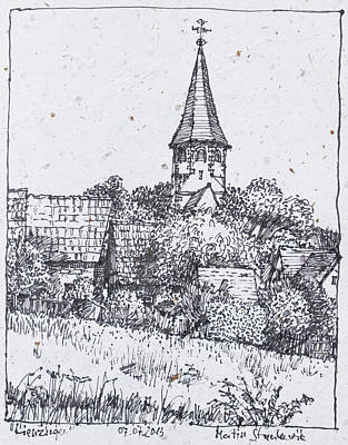 Painting - Lienzingen, Ortsrand Mit Wehrkirche  by Martin Stankewitz
