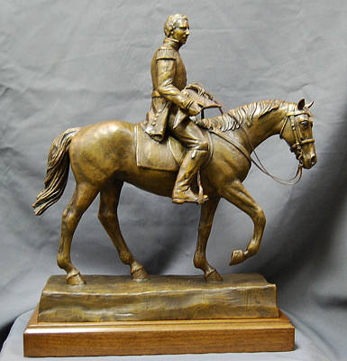 Joseph Smith Bronze Sculpture - Lieutenant General Joseph Smith Jr. Nauvoo Legion Equestrian Statue by Kim Corpany