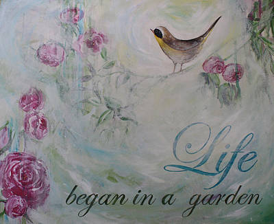 Painting - Life Began In A Garden by Mary-Lee Sanders