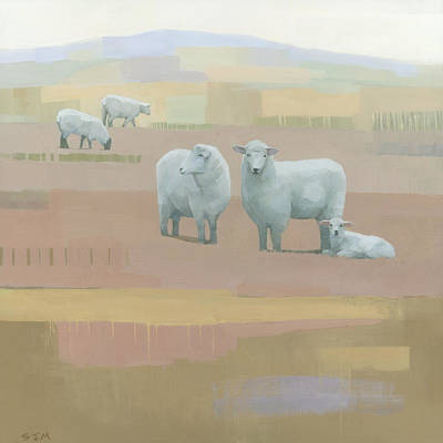 Sheep Painting - Life Between Seams by Steve Mitchell