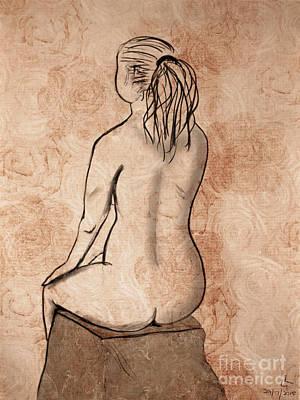 Female Nude. Nude Drawings Digital Art - Life Drawing 1 by Linda Lees