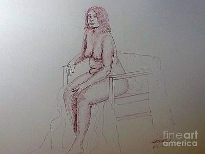Drawing - Life Drawing Nude Lady by Robert Monk