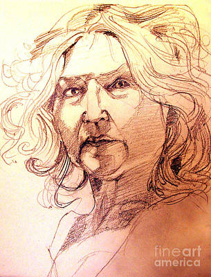 Drawing - Life Drawing Sepia Portrait Sketch Medusa by Greta Corens
