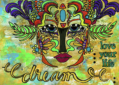 Mixed Media - Life Dreams-ceremonial Mask by Angela L Walker