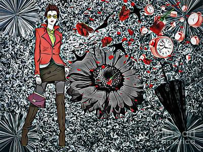 Life Goes Forward, Collage Art Print by Olga Lyakh