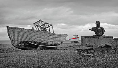 Photograph - Life Goes On - Old Fishing Boats In Black And White by Gill Billington