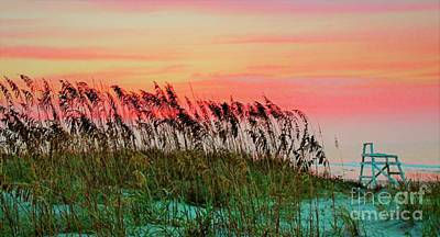 Photograph - Life Guard Chair At Sunrise by Paulette Thomas