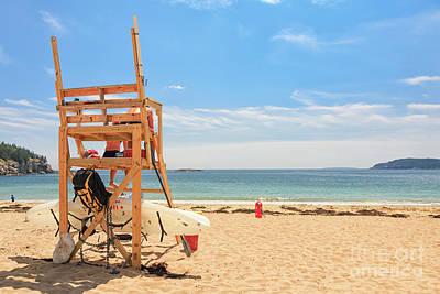 Photograph - Life Guard Chair Sand Beach Acadia by Elizabeth Dow