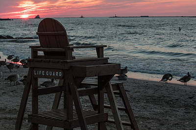 Fireworks - Life Guard Stand at Lake Erie  by John McGraw