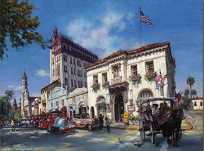 Cao Yong Painting - Life In St. Augustine by Cao Yong
