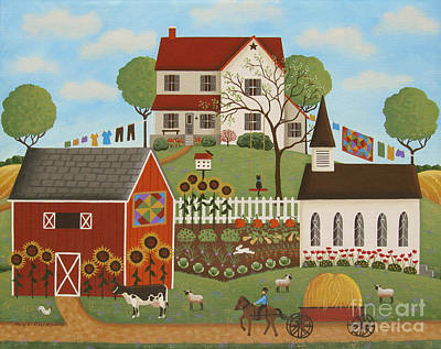 Folk Art Painting - Life In The Country by Mary Charles