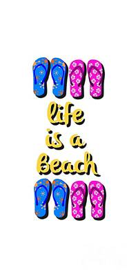 Life Is A Beach Design Art Print by Edward Fielding