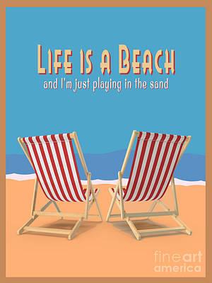 Digital Art - Life Is A Beach Vintage Poster by Edward Fielding