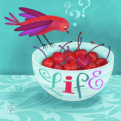 Drake Mixed Media - Life Is A Bowl Of Cherries by Valerie Drake Lesiak