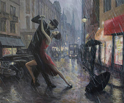 Tango Painting - Life Is A Dance In The Rain by Adrian Borda