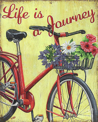 Bicycle Painting - Life Is A Journey by Debbie DeWitt