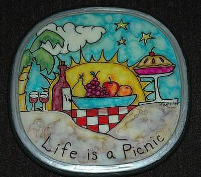 Lazy Mixed Media - Life Is A Picnic Lazy Susan by Mickie Boothroyd