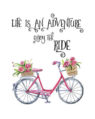 Life Is An Adventure Enjoy The Ride  - Red Bicycle With Flowers Watercolor - Motivational Quote Art Print