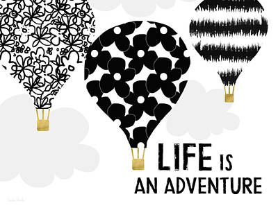 Digital Art - Life Is An Aventure Hot Air Balloon- Art By Linda Woods by Linda Woods