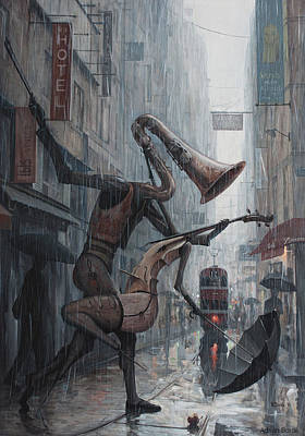 Steampunk Wall Art - Painting - Life Is  Dance In The Rain by Adrian Borda