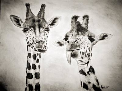 Giraffe Drawing - Life Is Good by Benjamin Gassmann
