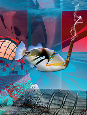 Mixed Media - Life Is Good Saltwater Triggerfish by Marvin Blaine