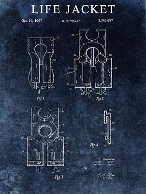 Drawing - Life Jacket Patent by Dan Sproul