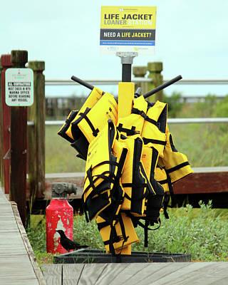 Safety Gear Digital Art - Life Jacket Station by Cynthia Guinn